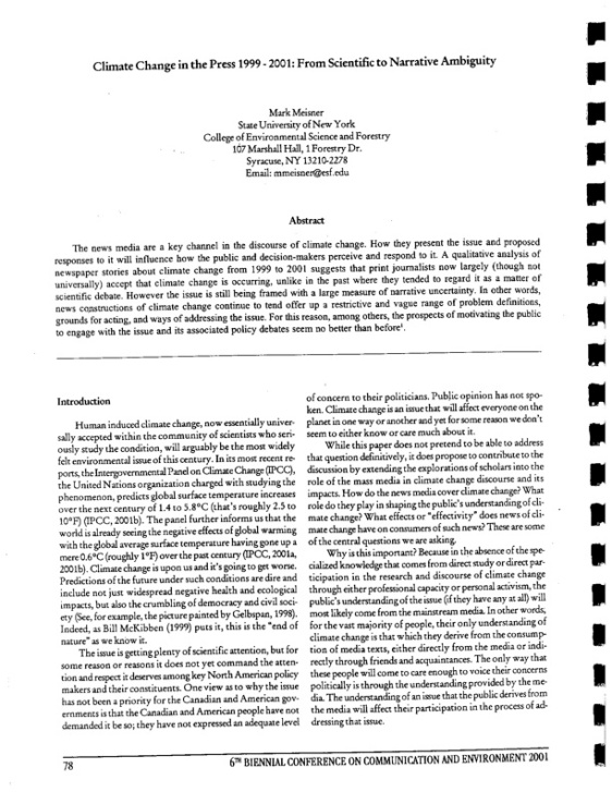 Meisner-Climate Change in the Press 1999-2001