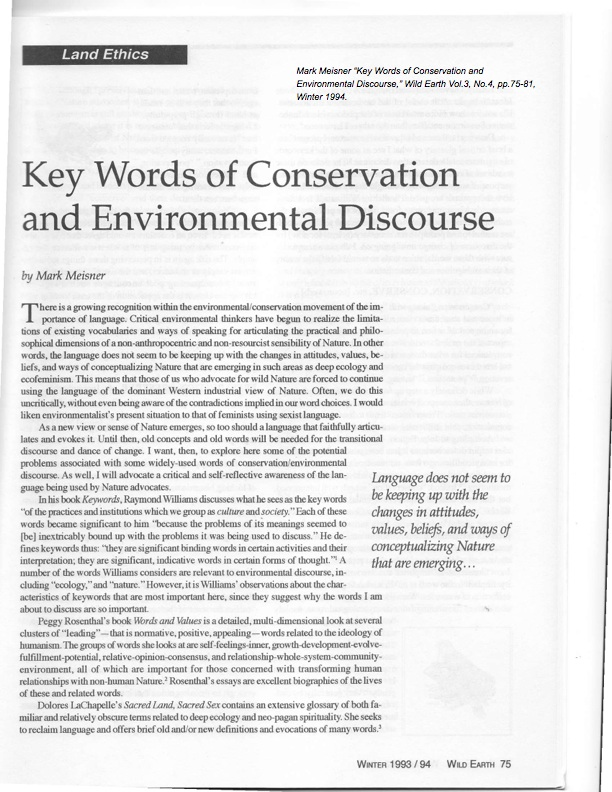 Meisner-Key Words of Conservation and Environmental Discourse