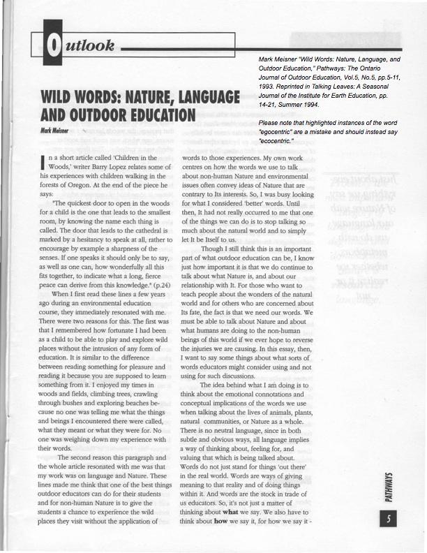 Meisner-Wild Words